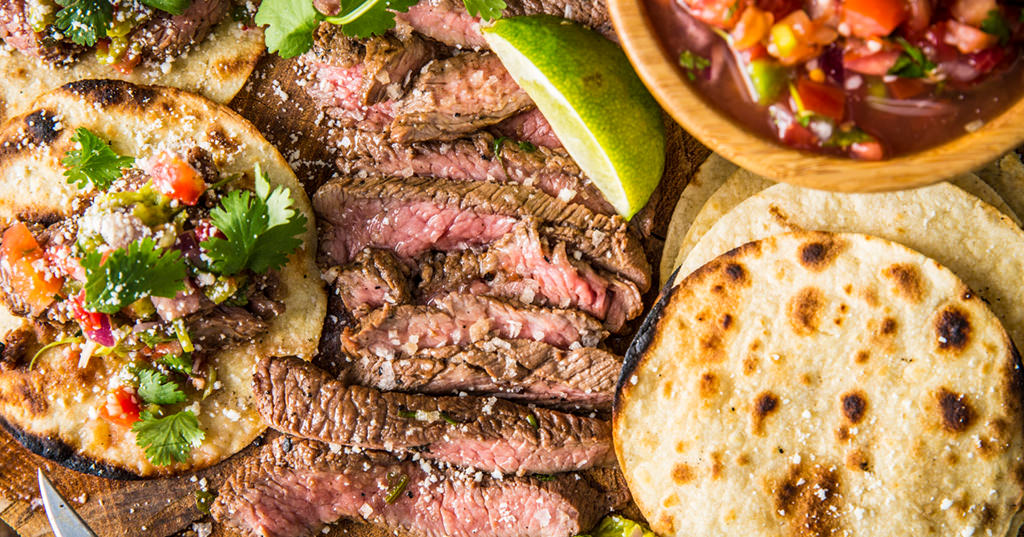 COFFEE RUBBED CARNE ASADA WITH CHARRED POBLANOS