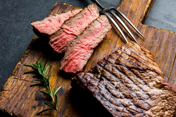 GRILLED FLAT IRON STEAK WITH PEPPERCORN MARINADE