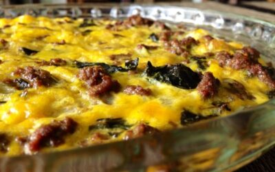SPICY BEEF SAUSAGE FRITTATA WITH COLLARD GREENS